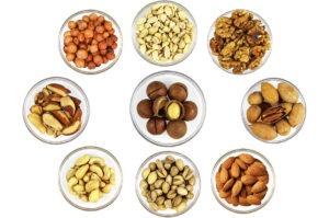 миндаль, пекан, бразильские орехи, фундук, арахис, каштаны, кешью, макадами
